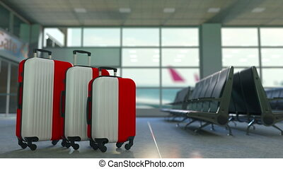 Travel suitcases featuring flag of Indonesia. Indonesian...