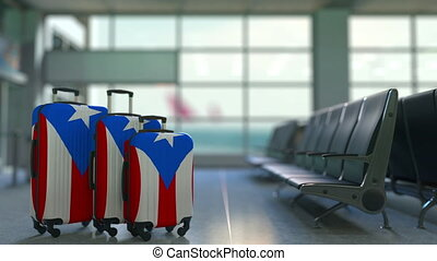 Travel suitcases featuring flag of Puerto Rico. Puerto Rican...