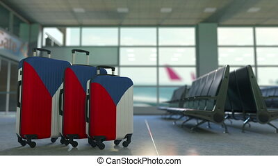 Travel suitcases featuring flag of the Czech Republic....