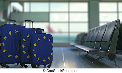 Travel suitcases featuring flag of the European Union. EU tourism conceptual 3D rendering