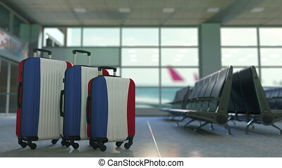 Travel suitcases featuring flag of the Netherlands. Dutch...