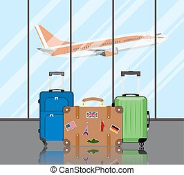 Travel suitcases in airport