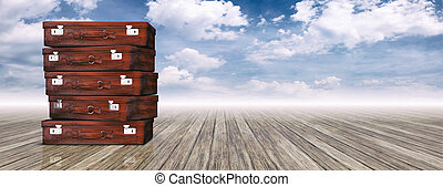 Travel suitcases on blue sky background and copy space. 3d illustration