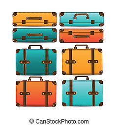 travel suitcases over white background vector illustration