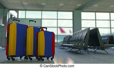 Travel suitcases with flag of Armenia. Armenian tourism conceptual 3D rendering