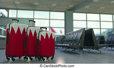 Traveler's suitcases with flag. Tourism related 3D