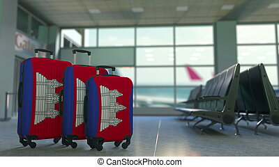 Travel suitcases with flag of Cambodia. Cambodian tourism conceptual 3D rendering