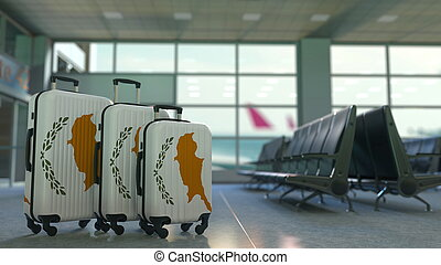 Travel suitcases with flag of Cyprus. Cypriot tourism conceptual 3D rendering