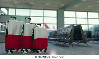Travel suitcases with flag of Malta. Maltese tourism conceptual 3D rendering