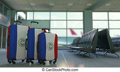 Travel suitcases with flag of Paraguay. Paraguayan tourism conceptual 3D rendering