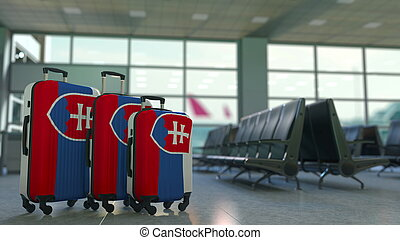 Travel suitcases with flag of Slovakia. Slovak tourism conceptual 3D rendering