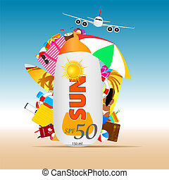 travel summer background with sun cream illustration
