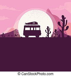 travel Summer road trip the desert van riding on the road at night. vector Illustrator