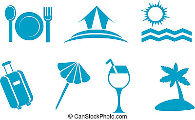 Leisure and travel symbols isolated on white