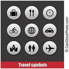 travel symbols vector set