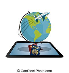 travel tablet globe airplane password design