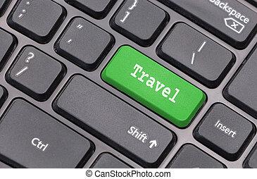 """travel"", tekst, de computer van het toetsenbord, closeup, klee, binnengaan, groene"