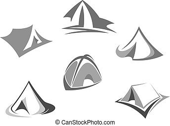 Travel tent icon for tourism and camping design