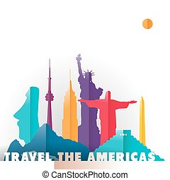 Travel the Americas monuments - Travel the Americas concept...