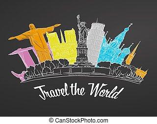 Travel the World Landmarks on Chalkboard