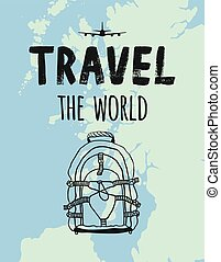 TRAVEL the world, map, airplane, backpack