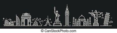 Travel the world monument concept - Flat Line Art Design.