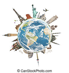 Travel the world monument concept - Famous monuments of the...