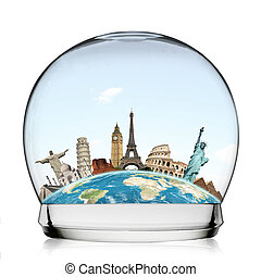 Travel the world monument snowball concept