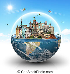 Travel the world monuments concept - Famous monuments of the...