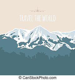 Travel the world. Vector illustration on flat style. Adventure motivation. Hand drawn snowy mountains landscape. Beautiful geometric background