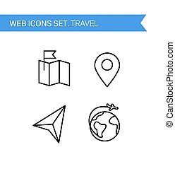 Travel. Thin line icons vector set