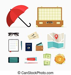 Travel things vector icons, baggage items to travelling,...