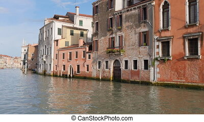 Travel through Grand Canal in Venice - Moving through the...