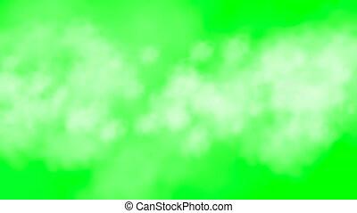 Travel through growing clouds green screen