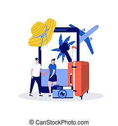Travel time concept with characters. Modern vector illustration in flat style for landing page, mobile app, poster, flyer, template, web banner, infographics, hero images