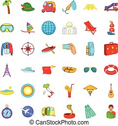 Travel time icons set, cartoon style