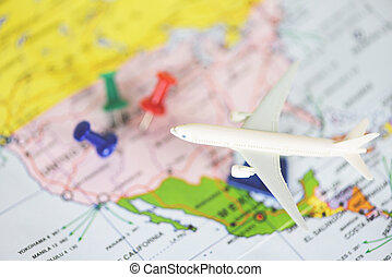 Travel time or plan for travelling concept / travel planning with airplane destination points on a map pin