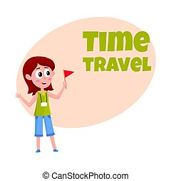 Travel time poster, banner, postcard design with tour guide girl