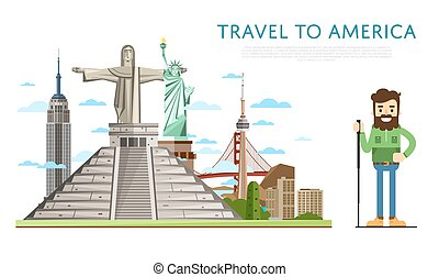 Travel to America banner with famous attractions - Travel to...