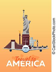 Travel to America, New York. Vector travel illustration.