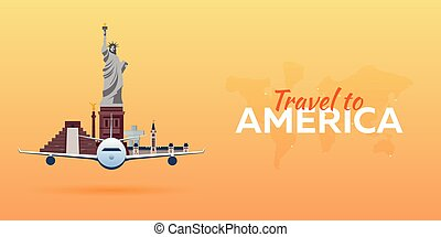Travel to America, New York. Vector travel illustration.