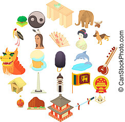 Travel to Asia icons set, cartoon style