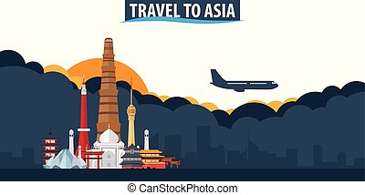 Travel to Asia. Travel and Tourism banner. Clouds and sun with airplane on the background.