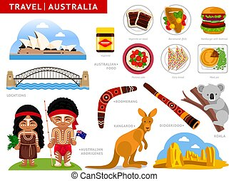 Travel to Australia. A collection of colorful illustrations for guidebook.