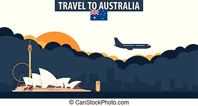 Travel to Australia. Travel and Tourism banner. Clouds and sun with airplane on the background.