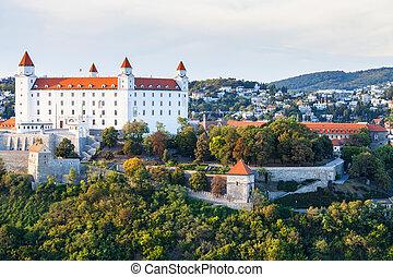 cityscape of Bratislava city with castle
