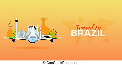 Travel to Brazil. Airplane with Attractions. Travel vector banners. Flat style.