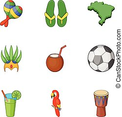 Travel to Brazil icons set, cartoon style