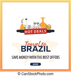 Travel to Brazil. Travel Template Banners for Social Media. Hot Deals. Best Offers.