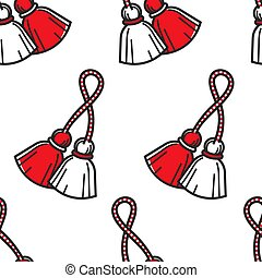 Bulgarian symbol red and white tassels seamless pattern -...